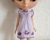 Violet smocked dress with violet flower emblem hand embroidery for Blythe