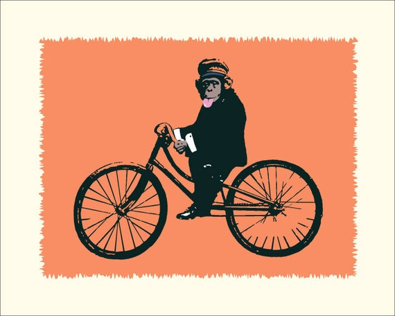 Bicycle Print, The Ungrateful Monkey, fine art archival Giclee