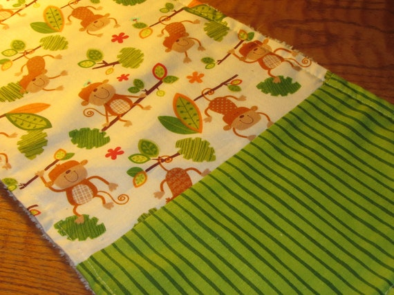 Burp Cloth Set of 4 - Monkeys Having Fun