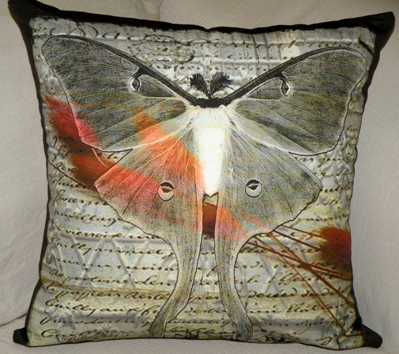 Fabric - PARCHMENT LUNA Moth  - two 18x18 panels - Fabric Designed by Billie Anderson in Bigfork Montana USA