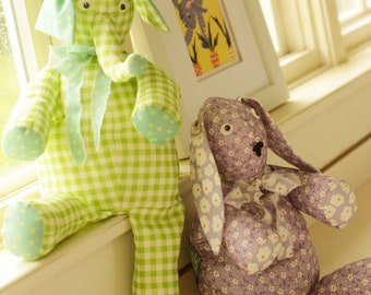 Patchwork Pals Digital Sewing Pattern PDF - instructions to create vintage rabbit and elephant stuffed animals included