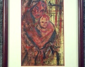 PAINTING Impressionistic MOTHER and CHILD  Gallery Matted  Framed  under glass ap 10 x 8 reds and blacks