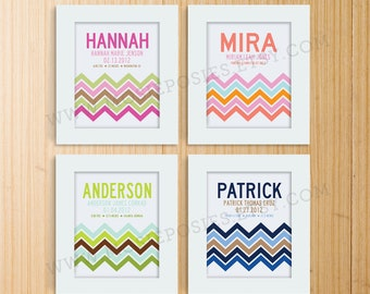 Modern Chevron Birth Print, Adoption Print, Baptism Print