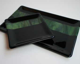 Black and Green Fused Glass Plate Set, Home Decor, Sushi Set, Candle Holder