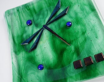 Streaky Green Glass Plate with Dragonfly, Fused Glass Plate, Home Decor, Housewares
