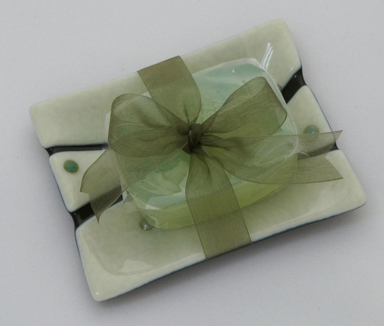 Soap dish fused glass bathroom decor cream with green for Green glass bath accessories
