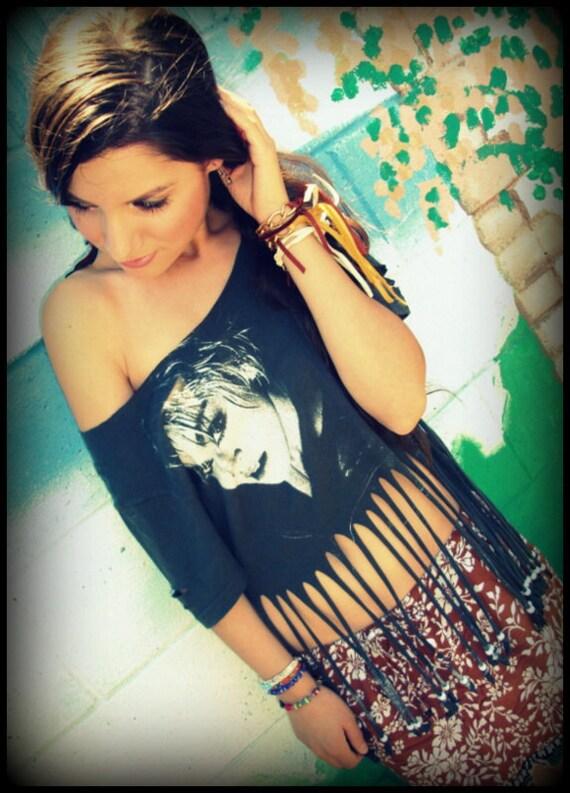 LOVE Hippie Vintage MADONNA Shredded Fringe Tee Shirt Top