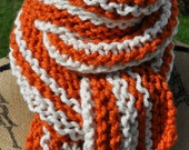 Chunky Striped Scarf - Orange - White - Long Womens Scarf Mens - School Team Scarf - Teen Striped Scarf - Pumpkin Orange - Ivory Cream