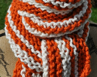 Chunky Striped Scarf - Orange - White - Long Womens Scarf Mens - School Team Scarf - Teen Striped Scarf - Pumpkin Orange - Ivory Cream
