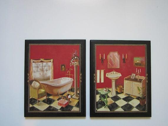 bath red black 2 wall decor plaques vintage by ozarkmtnhomestead. Black Bedroom Furniture Sets. Home Design Ideas