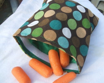 Sandwich and Snack Baggie Reusable Eco Friendly Moss Dots Fabric