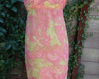 Vintage Dress. 60's Floral Cocktail Dress. Mad Men . Pink. Orange. Silk Beaded Dress