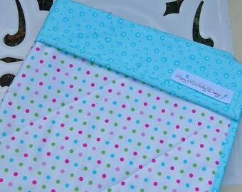 SALE - Organic Baby Quilt in Aqua and Muti Colored Polka Dot Fabric-Ready to Ship