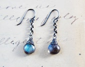 Labradorite Earrings Gemstone Jewelry Thunder Lightning