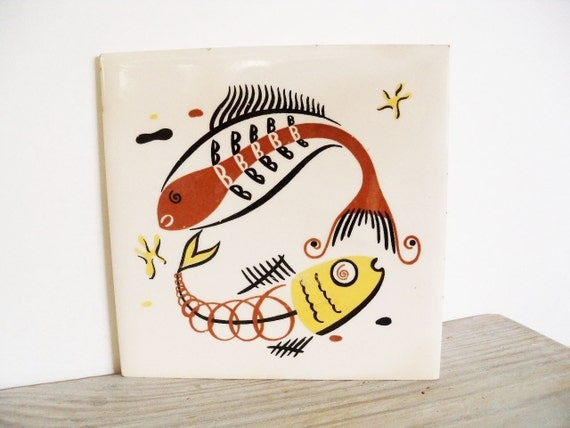 Mid Century Fish Ceramic Tile Wheeling Cushion 1950s