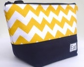 Insulated Lunch Bag Tote  Eco Friendly Zip Summer Sunshine Yellow Chevron Lunch Bag by BonTons