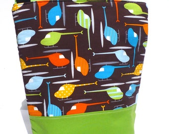 SALE Insulated  Lunch Bag Tote Washable lunch Bag Helicopter Boy Lunch Bag by BonTons on Etsy