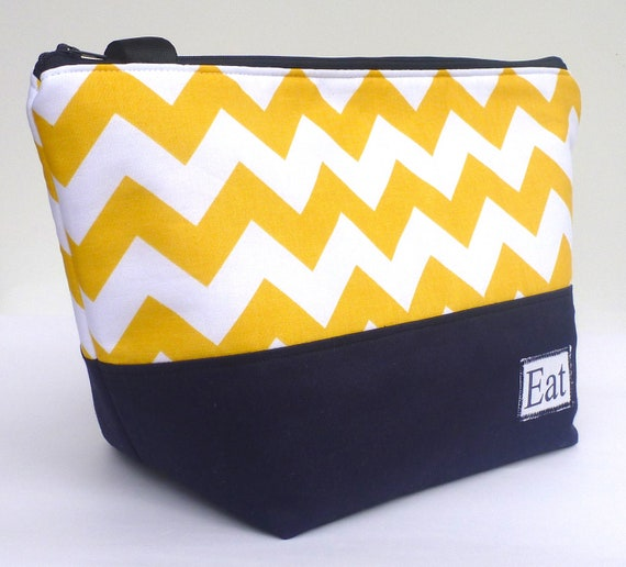 Insulated Lunch Bag Tote Stylish Summer Sunshine Yellow Chevron Lunch Bag Work Women by BonTons