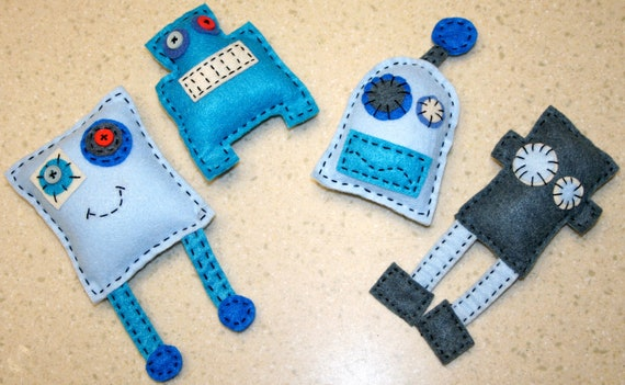 Set of 4 Robot (monster inspired) Plush Toys made from recycled felt