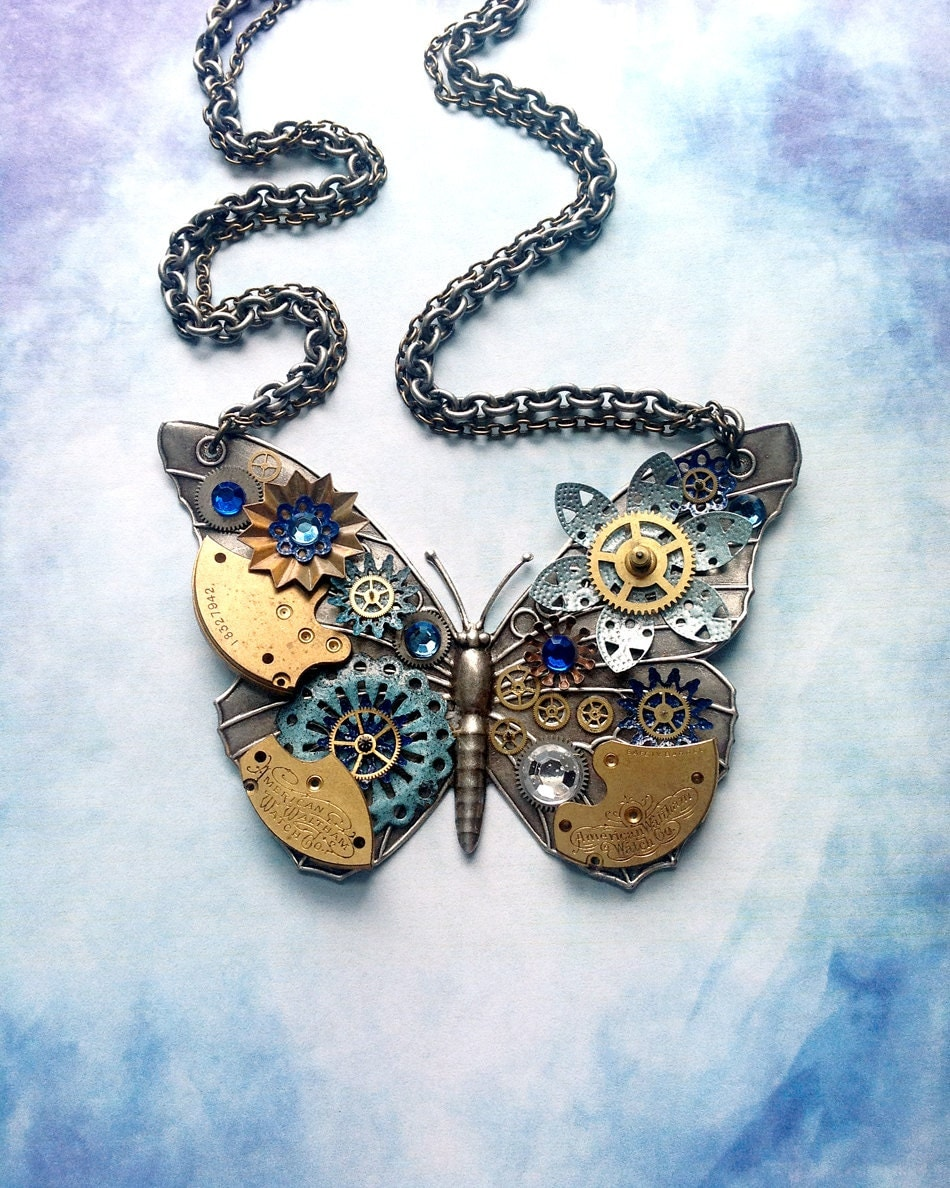 Steampunk Butterfly Necklace Silver Butterfly with Watch