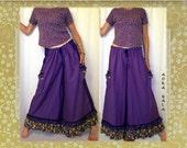 Baggy Ruffled IRIS Pants Drawstring Waist Purple Hand Dyed Egyptian Cotton fits 4-16 Wide Leg