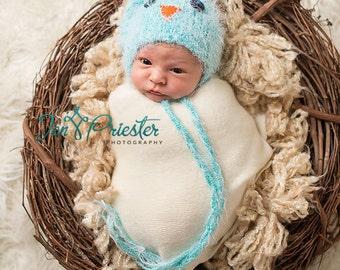 Knit Newborn Hat, Baby Hat, Photo Prop, Photography Props, Newborn Photo Props, Blue Bird Baby Hat, Little Blue Jay Hat