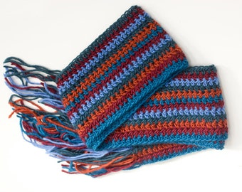 Mens Scarf, Winter Scarf, Mens Gift, Soft Alpaca Scarf,  Blue, Rust Striped Scarf,  Crocheted Scarf,  Womans Scarf, Ready to Ship