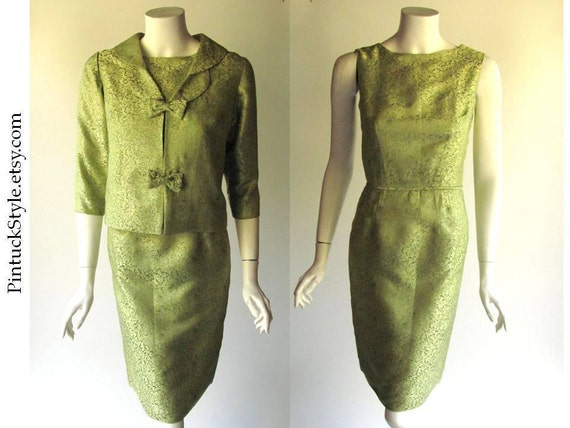 Dress Suit, Jackie O Style, 1960s Mad Men Look, Vintage Details, Kiwi Green Brocade, Petal Scollop Collar, small size, 24.5 waist