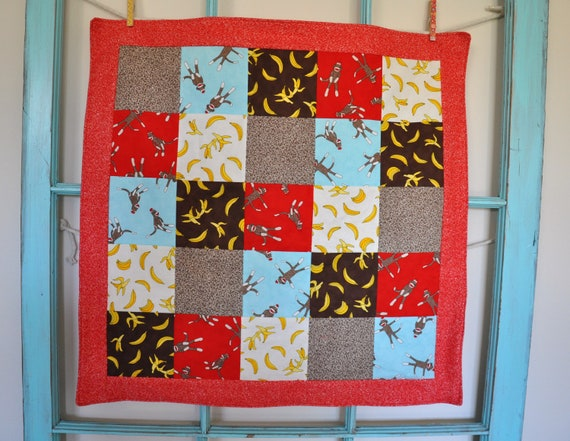 "Sock Monkey Car Seat Quilt - 28"" x 28"""