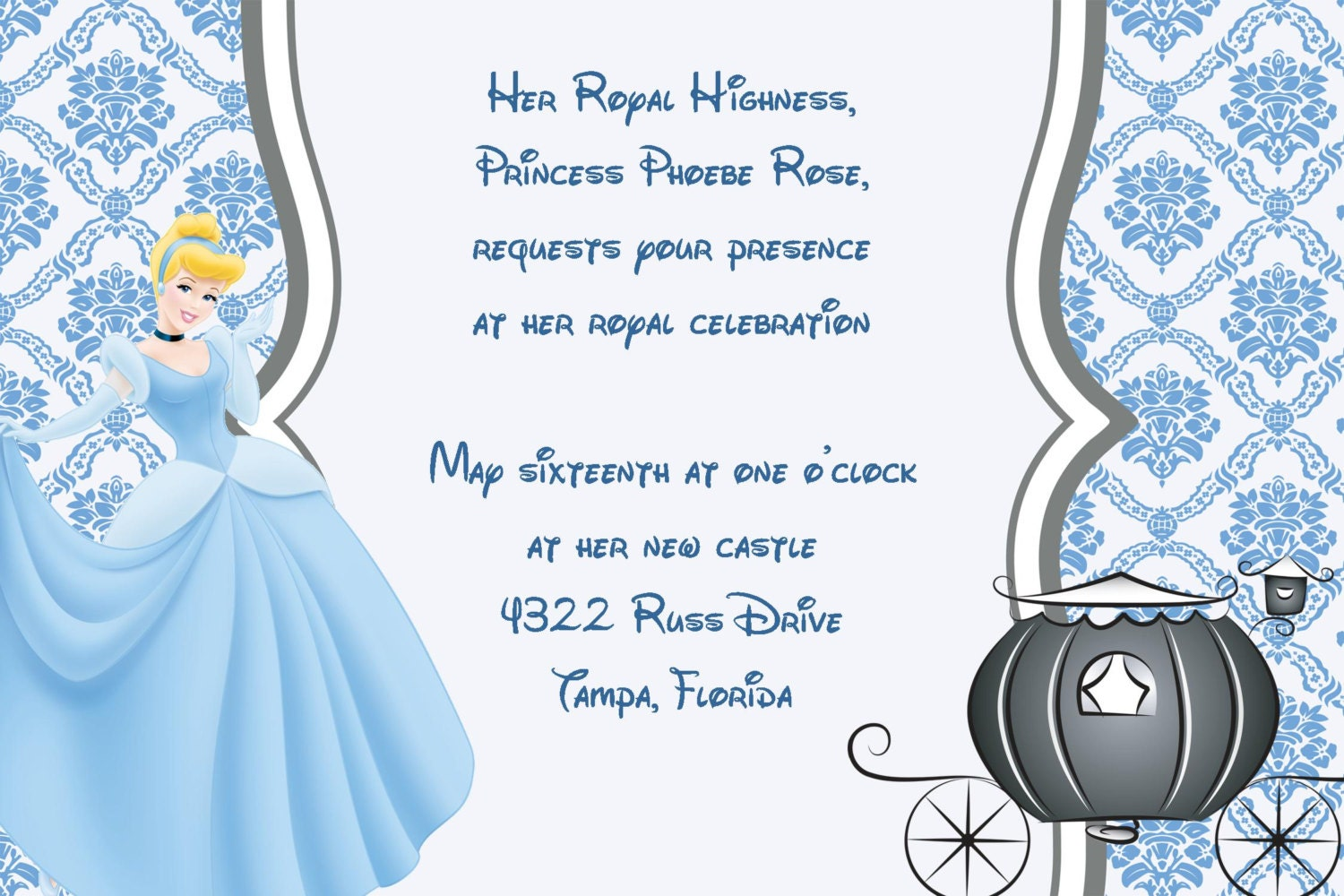 girls cinderella princess printable birthday party invitation, Party invitations