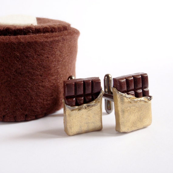 I Love Chocolate Cufflinks - To Miniature Food Art Jewelry Collectable - Schickie Mickie Original