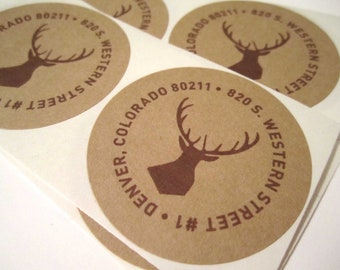 Return Address Sticker // Kraft, Woodland Wedding Invitations, Outdoors, Colorado, Montana, Wyoming, Stag, Deer, Round Circle
