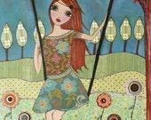 Art Print, Girl Decor, Girls Wall Art, Teen Girl Art, Teen Girl Bedroom Decor , Girl on Swing, Large Art Print 40x50 cm, Nursery Decor