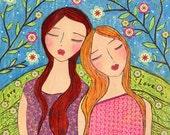 Sisters Friendship Art Block Whimsical Folk Art Painting