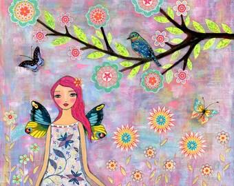 Butterfly Fairy Art Print, Nursery Art