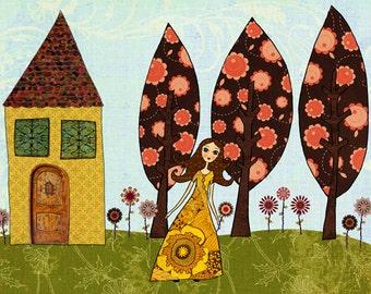Poppy's Garden Art Print, Large Poster Print 40x50 cm (16x20 inch), Nursery Art Print