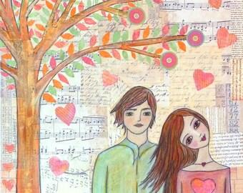 Couple Art Block Whimsical Folk Art Love Tree Painting