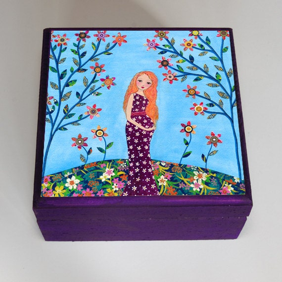 Mother And Baby Gift Box : Pregnant mother and baby jewelry box trinket gift by