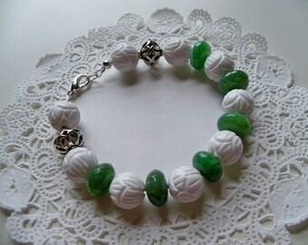 WHITE CORAL and JADE Bracelet/Jade Bracelet/Coral Bracelet