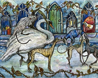 The Snow Queen's Ball - Whippet Hound Art Print