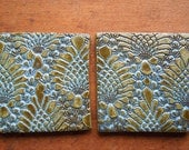 Rustic Tiles/Coasters in Blue- Set of 2-In stock ready to ship