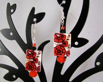 Shell tile red flowers with Czech crystal sterling dangle earrings