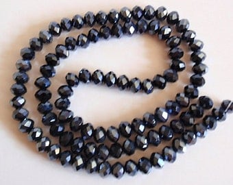 96 Glass Beads, jewelry making Supply, 1 strand (96 beads) beautiful Faceted Rondelle Crystal Suncatcher, Faceted, Abacus, Black, 6mm X 4mm