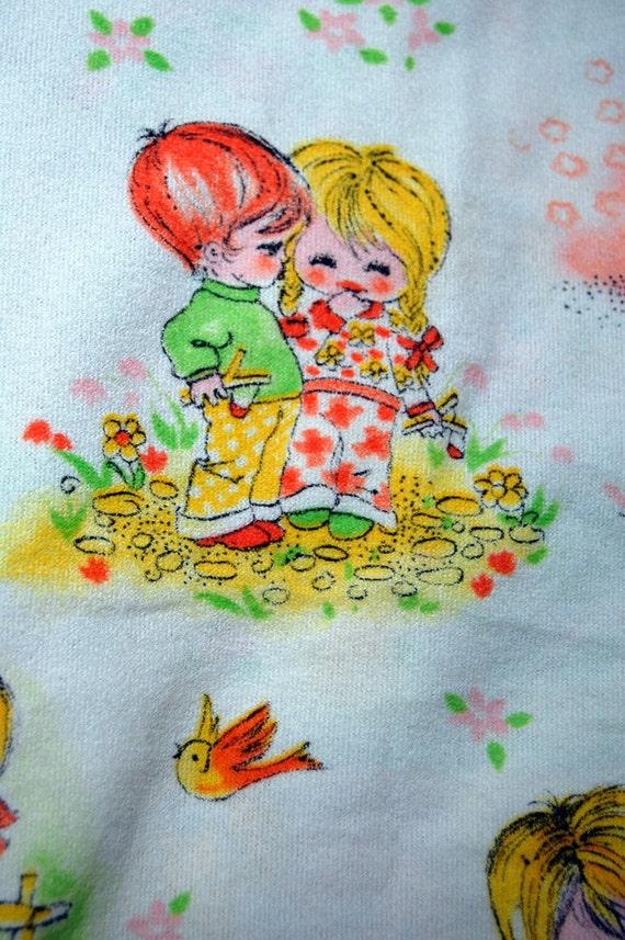 Vintage Novelty Kids Fabric Stretchy White Material Children Juvenile