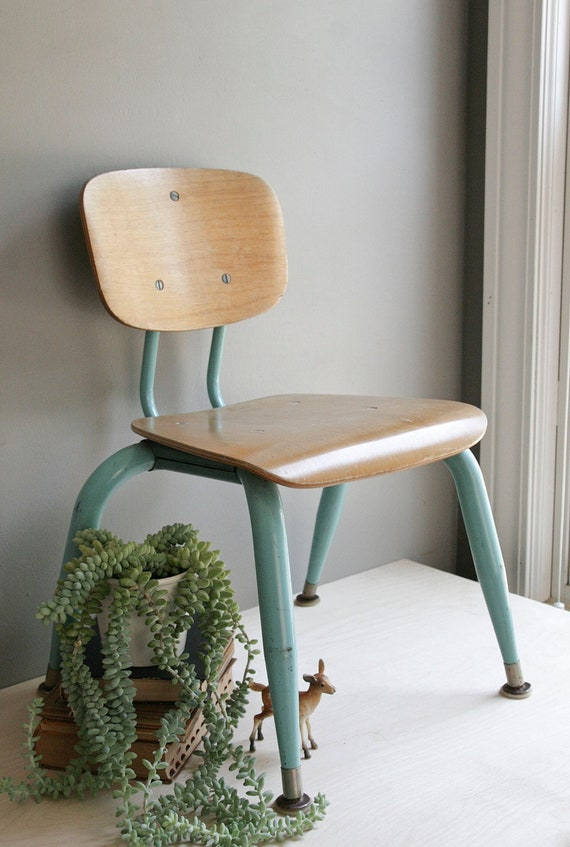 RESERVED / child's school chair / plywood & aqua metal