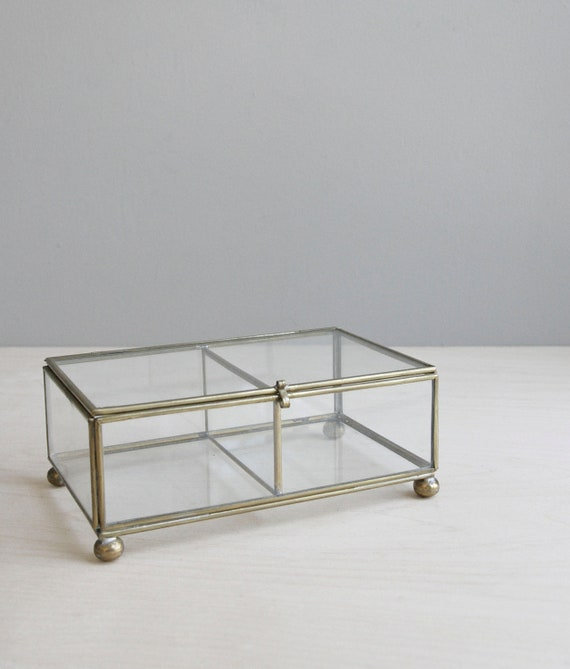 RESERVED / classic jewelry box / glass & brass
