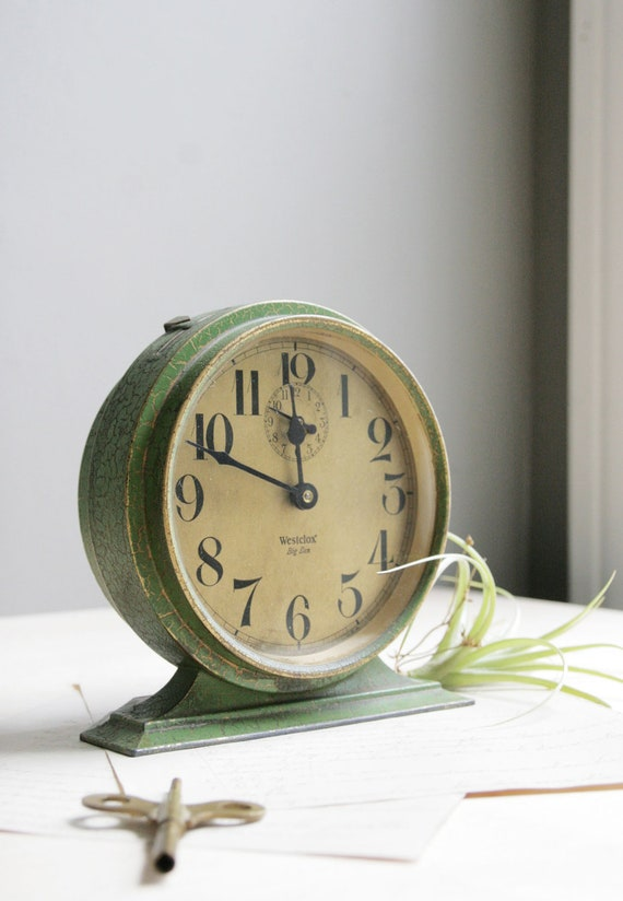 Antique Big Ben Wind Up Clock Green Amp Gold