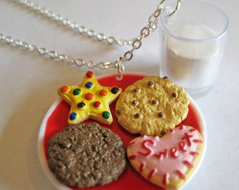 Cookies and Milk Charm Necklace - Santa's Cookies - Food Jewelry