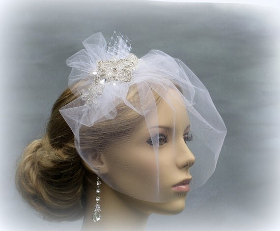 Birdcage veil, Wedding hair accessories, Wedding Bridal Blusher Veil ,  Wedding Head Piece, birdcage Tulle Veil with crystal embellishment