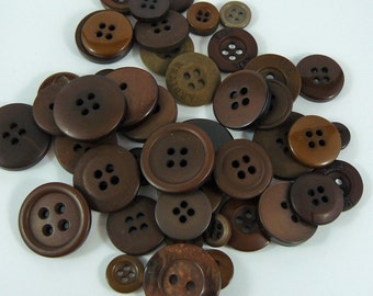 50 Chocolate colored Buttons BUY 3 get 1 FREE